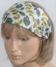 GENUINE VINTAGE 60s CUTE GREEN FLORAL HANDMADE HAIR WRAP BANDANA HEADBAND E214