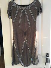 Biba Grey Silver Sequin Silk Dress Art Deco Style Size 10 Christmas Party