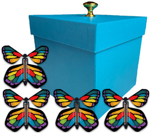 Blue Exploding Butterfly Box With Monarch Flying Butterflies