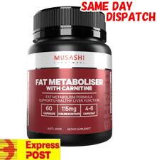 MUSASHI FAT MOBILISER + L-CARNITINE 60 CAPSULES METABOLISER FAT BURNER MEGA WITH