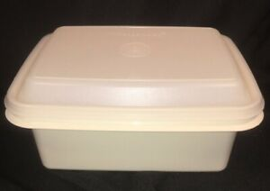 Tupperware #1254 Freeze N Save Ice Cream Keeper Container Almond Base Sheer Top