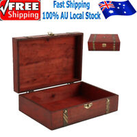 Vintage Wooden Treasure Chest Jewelry Box Necklace Book Storage Organiser Box