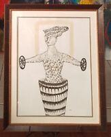 Ramon Carulla Ink on Paper 24X20 Cuban Art Original Painting