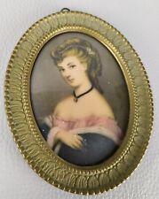 Miniatura quadretto ovale ritratto donna con cornice in ottone