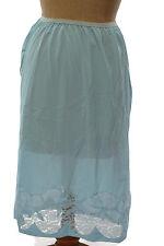 Vintage 1960s Contessa Womens Light Blue Nylon Slip Floral Lace Trim Size Medium