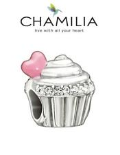 Nuevo Y En Caja chamilia STERLING SILVER & SWAROVSKI El Amor Es Dulce Cupcake encanto grano
