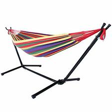 Indoor and Outdoor Cotton Double Hammock Set w/ Steel Stand Carrying Case