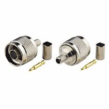 2-Pack N Type Male Crimp Solder Connector for LMR-240 KSR-240 Coaxial Cable
