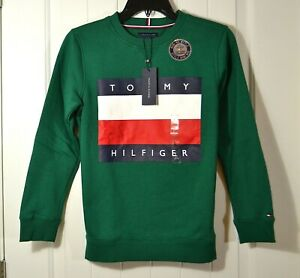 NWT KIDS BOYS YOUTH TOMMY HILFIGER GREEN SWEATER JACKET PULLOVER CREWNECK SZ L