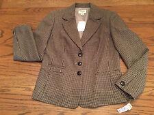 NWT TALBOTS Houndstooth Wool Blend Riding Jacket Blazer Size 6 Brown Tan $198
