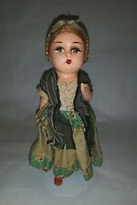 """Vintage 8-1/2"""" Composition Ethnic Clothing Doll"""