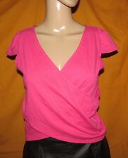 Nwt ENERGIE Pink Wrap look V-neckline stretchy Form-fitting Top JRS M Medium