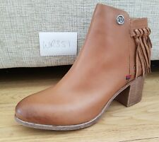 Ladie's Wrangler WR351 brown Leather heel zip up fringe ankle boots UK 4 EU 37