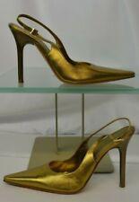 569bab403e9c Casadei Pointed Toe Metallic Gold Size 7 Rhinestones Slingback Heels Pumps  Italy
