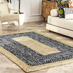 Jute & Cotton Rugs Natural Hand Braided Bohemian living area Decor Modern Rugs