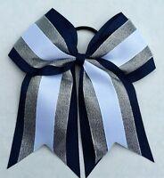 "8"" Navy Blue, silver, White, Big Cheer Bow, Softball, Cheerleading Soccer sports"