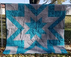 Custom Handmade Quilts - King size Teal/Gray Carpenter Star Finished Product