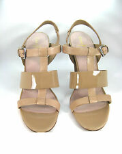 """COLE HAAN NIB Nude Patent Leather """"Lainey"""" Strappy Open Toe Pump Size 9 $178"""
