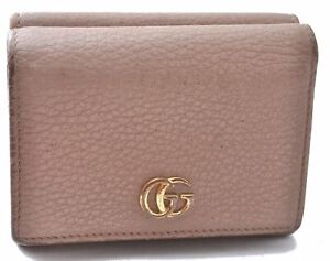 Authentic GUCCI Petite Mormont Compact Trifold Wallet GG Leather Beige C3500