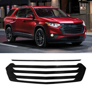 For 2018-2021 Chevrolet Traverse Front Grille Cover Overlay Gloss Black ABS