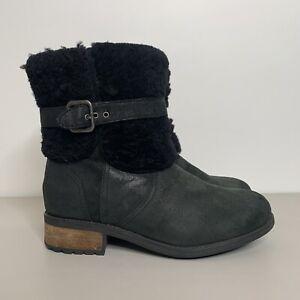UGG • Black Nubuck Leather & Shearling Blayre Boots •  Size UK 6.5 Eur 39