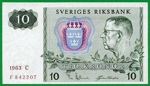 SWEDEN 10 KRONOR 1963 P 52 , UNC