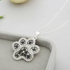 Silver Dog Cat Charm Paw Print Pendant Chain Love Heart Footprint Necklace Gift