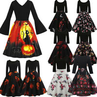 Hot Women Halloween Costume Long Sleeve Vintage Gown Party Skater Swing Dress