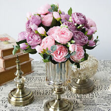 Artificial Silk Peony Flowers Bouquet Fake Leaf Home Wedding Party Decoration