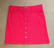 Per Una UK 16 Stretch Denim Cotton Mix Button Up Knee Mini Skirt Cerise Pink M&S