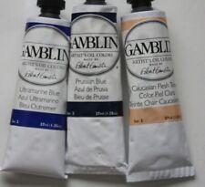 3 Gamblin Oil Paint's-Flesh Tone, Prussian & Ultramarine Blue'S -37mL-Series 2