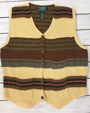 Ralph Lauren Vest Wms L Hand Knit Cotton Weave Sweater Button Stripe Brown Gold