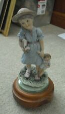 Vintage Resin Girl with Doll Wood Base Music Box 9