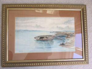 Maggie Leitch Original Watercolour Coastal Scene Boats on Shore Leztch