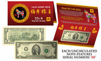 2018 Lunar Chinese New YEAR of the DOG Lucky  U.S. $2 Bill w/ Red Folder *S/N 88