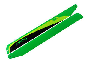 KBDD 550mm FBL Black / Lime / Yellow Carbon Fiber Main Rotor Blades - Trex 550