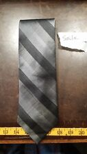 Perry Ellis Gray Black Stripe Silk Designer Mens Necktie Free Shipping