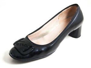 Ferragamo Pumps Medium Heel Black Patent Leather Women Size US 7.5 EU 38