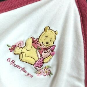DISNEY BABY Pooh Receiving Blanket Embroidered Winnie Piglet A Flower For You