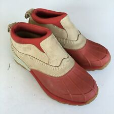 L.L.Bean Ankle Rain Boots Athletic Red Tan Womens Size 7.5M
