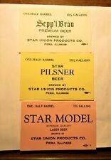 1930's Star Union brewery 15-1/2 gallon keg labels 3 dif. Peru, Illinois