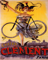POSTER CYCLES CLEMENT PARIS LIGHT BICYCLE GIRL ROOSTER HAT VINTAGE REPRO FREE SH