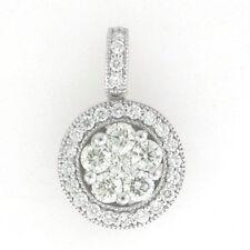 14k White Gold Diamond Cluster Diamond Pendant 1.73 Cts