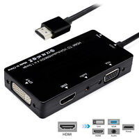 4in1 HDMI to VGA/Audio/HDMI/DVI Dongle Adapter Multiport Splitter Converter BK
