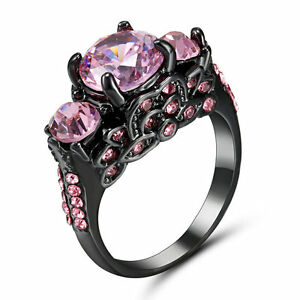 Size 8 Pink Sapphire Inlay CZ Wedding/Engagement Ring Black Rhodium Plated Gift