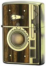 Zippo Antique Camera Wood Inlay Oxidized Brass Both Side Etching Japan Limited