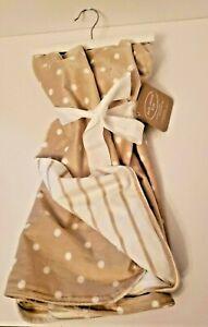 Kathy Ireland Plush Baby Blanket Tan White Polka Dots Stripes Reversible