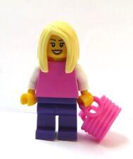 Lego Female Girl Minifigure Figure Pink Purple Blonde Trendsetter Hair & Bag