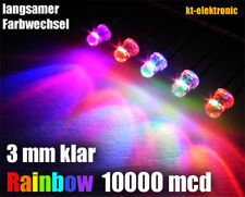 10 Stück LED 3mm Auto RGB LED langsamer Farbwechsel 30s / Regenbogen Rainbow