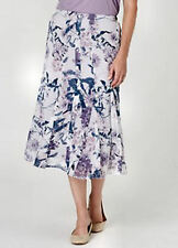 Crinkle panelled romantic floral  PURPLE lined summer pull on skirt size 22 NEW